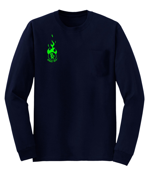 Picture of Navy L/S Green Flame Pocket Shirt (CGNPGF)